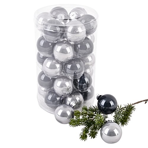 Dadeldo Weihnachtskugel Premium 30er Set Glas 4cm Xmas Baumschmuck (Grau)