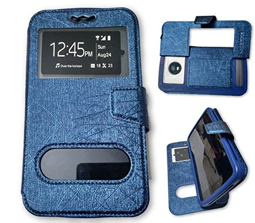 BKDT Marketing Leather finish Flip Cover Case Stand Diary Style for MICROMAX Canvas Turbo Mini A200 with Dislay Window and Stand - Blue  available at amazon for Rs.449