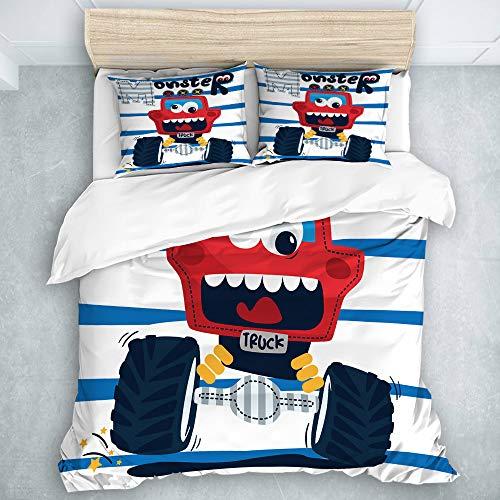 TARTINY Bedding Bedrucktes Bettbezug-Sets Gestreifter Hintergrund des netten roten Monstertrucks der lustigen Karikatur Mikrofaser Kinder Student Schlafsaal Bettwäsche Set -