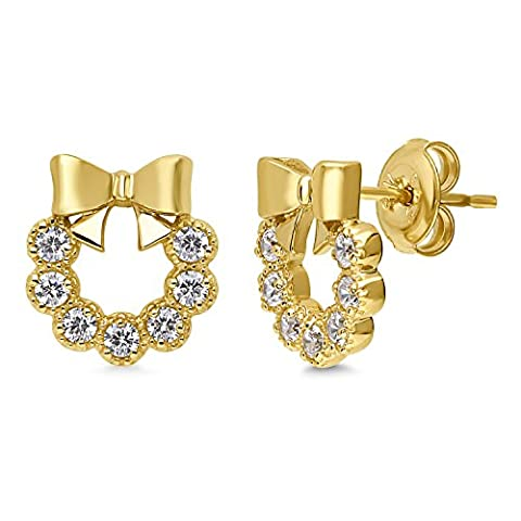 BERRICLE Yellow Gold Flashed Sterling Silver Cubic Zirconia CZ Bow Tie Fashion Stud Earrings