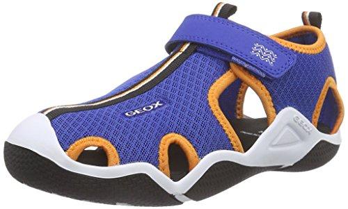Geox JR WADER C, Jungen Sneakers, Blau (ROYAL/ORANGEC0685), 39 EU