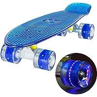 LAND SURFER® Skateboard Cruiser Retro Completo 56cm con tabla coloreada transparente - cojinetes ABEC-7 - Ruedas que se iluminan 59mm PU + bolsa para el transporte - Tabla Azul Transparente/Ruedas Azules LED