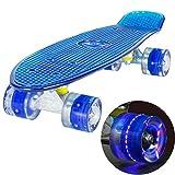 LAND SURFER® Retro Cruiser, komplettes Skateboard mit durchsichtigem 56-cm-Deck - ABEC-7-Kugellager - PU-LED-Räder (59 mm), die bei Bewegung aufleuchten + Tragetasche - Klares Deck BLAU / BLAU LED