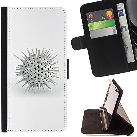 For Samsung Galaxy E5 E500 Case , Spikes bianche - Portafoglio in pelle della Carta di Credito fessure PU Holster Cover in pelle case