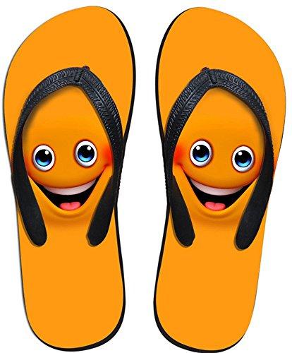 Fashion DESIGNS U per Emoji da uomo e da donna, V Pantofole Sandali infradito, per interni ed esterni, bagno, piscina, in spiaggia, antiscivolo, Wear nero - Emoji Orange