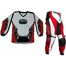 Completino maglia maglietta + pantalone rosso bimbo e bambino per moto da cross mini quad bmx