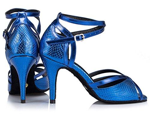 Dayiss Damen Tanzschuhe Brautschuhe mit Absatz - Standard & Latein Blau