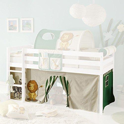 *Vorhang Safari 3-teilig 100% Baumwolle Stoffvorhang Bettvorhang inkl Klettband für Hochbett Spielbett Etagenbett Stockbett Kinderbett*