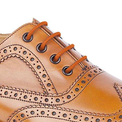 Hochwertige, runde, gewachste 55-Sport-Baumwoll-Schnürsenkel, Orange - Orange - Größe: 150 cm (3 Peers) (Peer-trainer)