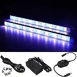 LTRGBW 5730 SMD 12 V 7,2 Watt 18 LEDs Blau + Weiß LED Aluminium Starre Streifen Bar Licht Wasserdicht IP67 mit Netzteil Dimmer (2-Pack 30 cm)