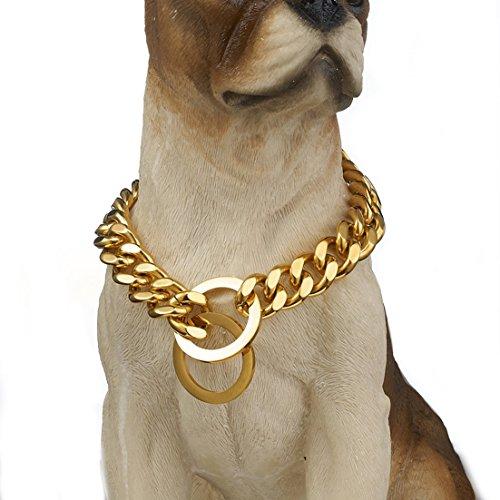 Granny Chic Hundehalsband aus Edelstahl, robust, goldfarben, 12/15 mm, 26
