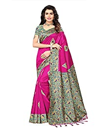 Fabwomen Sarees Floral Print Kalamkari Multi-Coloured Mysore Mysore Art Silk With Tassels Fashion Party Wear Women's...