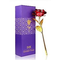 Rosa 24K chapado en oro con caja de regalo mejor regalo para el día de San Valentín