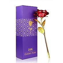 Rosa 24K chapado en oro rosa flor con caja de regalo mejor regalo para el día de San Valentín Día de la madre Navidad cumpleaños dorado/rojo/morado/azul