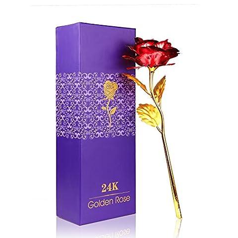 Rose 24K Gold überzogene Rosen Blume mit Geschenk Kasten Bestes Geschenk für Valentinstag Muttertag Weihnachtsgeburtstag Golden / Rot / Lila / Blau (Rot)