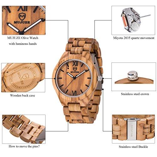 MUJUZE Herren Analoge Quarz Holzkern Armbanduhren mit Olivenholz Band und Leuchtendem Zeiger ME1001Olive Wood - 6