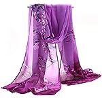 Gemini_mall Womens Lady Flower Printed Soft Chiffon Scarf Stole Scrawl Wrap Purple
