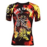 Rule Out Short Sleeve Rash Guard Top.Born To Ride. Oldschool Motoclub. Gym. Training. Moto. Cycling.Sportswear.T-shirt de Compression. Motorcycle.Racing. (taille XLarge)