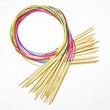NOVSIX Collection de Kits Circulaire Aiguille a Tricoter Crochet Double Pointe en Bambou (17 tailles)