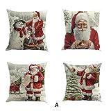 Xinan Kissenbezug Weihnachten Drucken Färben Sofa Bett Home Decor Kissen Cover (4PC/Pack, ❤️A)