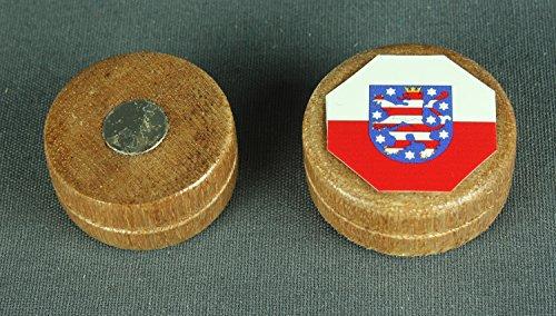 Magnet Thüringen Flagge 28x12 mm runder Holz Zylinder hell Flaggenmagnet (Kühlschrank Helle)