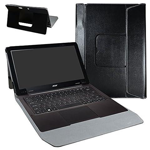 Acer Aspire Switch 12 S Coque,Mama Mouth 2-in-1 Détachable PU Cuir debout Fonction Housse Coque Case Étui Couverture Pour 12.5