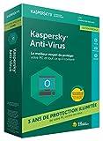 1 USER / 3 YEARS INEdition Spéciale : 3 ans de protection illimitée de votre PC contre les virus ! Kaspersky Anti-Virus protège votre PC en temps réel contre les virus, les logiciels espions et les programmes malveillants, tels que les ransomwares. S...