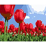 DIY Oil Painting, Paint by Number Kit for Home Wall Decoration Art Gift Tulip Flowers Field 16*20 Inch