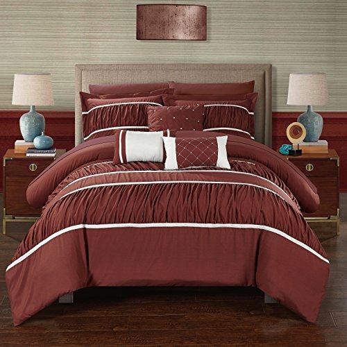 Perfect Home 10teiliges Blanche Bundfaltenhose & Rüschen Queen Bett in einem Beutel Tröster Set Brick mit Bogen Set (Bett In Einem Beutel-ensembles)
