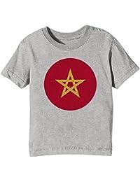 Erido Marruecos Nacional Bandera Niños Unisexo Niño Niña Camiseta Cuello Redondo Gris Manga Corta Todos Los
