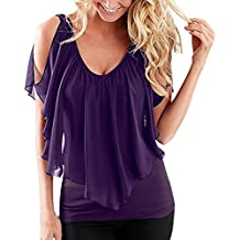 Womens Summer Chiffon Cold Shoulder T Shirt, Kanpola Ladies V Neck Front and Back Batwing Sleeve Patchwork Tops Irregular Ruffle Racerback Blouses