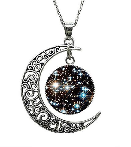 Halskette Silber Mond Universum Unisex Runder Anhänger (Schwarz/Weiß)