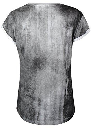 Trueprodigy Damen T-Shirt London Kiss weiss grau - fällt normal aus Offwhite