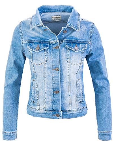 Rock Creek Damen Jeans Jacke Übergangs Jacke Denim Blouson Stretch Kurz Classic Jeansjacken Urban Stonewash D-401 Himmelblau M -