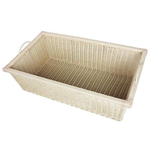 GAIHU Cremig-weiß Ablagekorb Kunststoff Körbe rechteckigen Fliesen Warenkorb übernehmen Sie den Korb Schublade Typ schlichten Box PE Imitation Rattan Handarbeit Storage (Rechteckige Speicher-körbe)