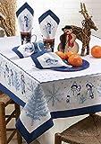 Kamaca Stickpackung Snowman Family Spannstich Stielstich Plattstich vorgezeichnet aus 100% Baumwolle vorgedruckte Stickvorlage zum Selbersticken (Tischdecke 150 x 300 cm)