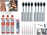 Fischer Thermax Befestigungsset 8 x 16/170 M12 Hochleistungsmörtel FIS V 300 T Multi Kleb und Dichtstoff KD-290 Zylinderbürste