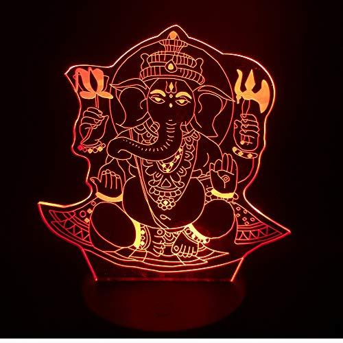 achtlicht Visuelle 7 Farben Illusion Indien Lord Elephant Kind/Kind Tisch Schreibtischlampe Geburtstag Jahr Geschenke ()