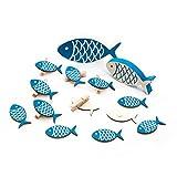 SET Tisch-Deko: 14 Teile Maritime Deko blau weiß: 6 kleine Deko-KLAMMERN FISCH + 6 STREU-Deko Holz-FISCHE 5 cm + 1 Deko-FISCH 10,5 + 1 Holzfisch 13 x 6 cm Streuteile Tischschmuck zur Taufe, …