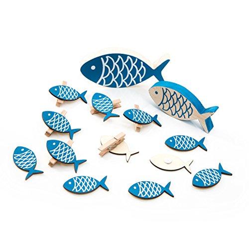 eile ... Maritime Deko blau weiß: 6 kleine Deko-KLAMMERN FISCH + 6 STREU-Deko Holz-FISCHE (5 cm) + 1 Deko-FISCH (10,5) + 1 Holzfisch (13 x 6 cm) Streuteile Tischschmuck zur Taufe, … (Nautische Hochzeit Einladungen)