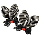 Brand New Baby Girl Hair Clips Toddler Infant Hair Accessories Bowknot Butterfly Design Hair Clips Set of 2 (BLACK/WHITE)
