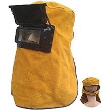 QEES - Casco de soldadura de mano, impermeable, carcasa de plástico con cristal y máscara de soldadura de arco, mango de madera, protector de cara para soldadura rojo/café DHMZ01 (café)