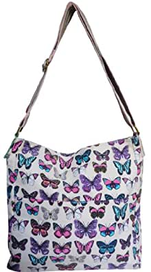 New Girly HandBags New Washed Cotton Butterfly Canvas Messenger Ladies Slouch Bag