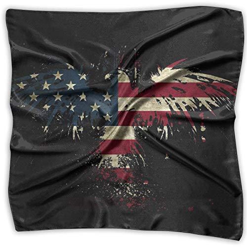 American Eagle Handtasche (Coole American Eagle Flag Damen Kopftuch, Satin, groß, quadratisch, seidenähnliches Halstuch, Schwarz)
