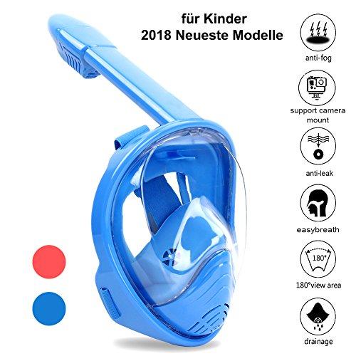 Zenoplige Schnorchelmaske Tauchmaske mit 180° Breitsicht mit Schnorchel und Anti-Beschlag, Blau/Kinder