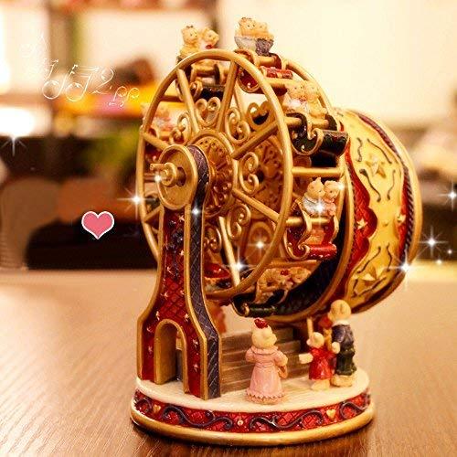 ASNOMY personalisierte rotierende Riesenrad-Spieluhr/Musik Box für Mädchen oder Jungen Geburtstag, Spieluhr Melody Canon (Rot) -