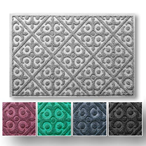 No Shed Easy Clean Welcome-Matte, Einstiegsteppich für Innen- und Außeneingang, Schuhschaber für Haustür, schützt den Boden vor Schmutz und Schlamm, wasserfest und Rutschfest 24W x 36 L grau (Füllen Stiefel)