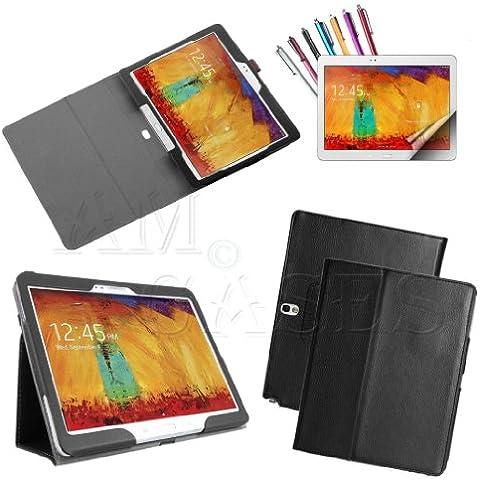 Am Case®–Custodia sottile in pelle PU Full Body a libro Stand Custodia Cover per Galaxy Note 2nd generazione 2014P600/P601/P605, con pennino e pellicola proteggi schermo, colore: nero