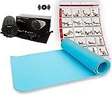 POWRX Faszien Set inkl. Workout | Yogamatte mit Vibrationsrolle | Faszienrolle Tiefenvibration | Gymnastikmatte TPE 173 x 61 x 0,5 cm