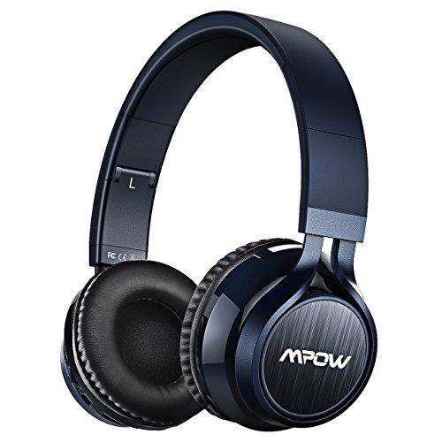 Mpow Thor, Auriculares de Diadema Cascos Bluetooth Inalámbrico con Micrófono 12H Reproducción Audio de Alta Resolución Casco Plegable Sin Cable Manos Libres y Cable de Audio para TV, PC, Movil, Mac, Azul